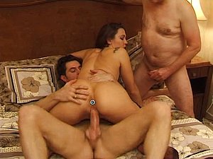 Young maid nailed by 2 dicks in old vs. young video