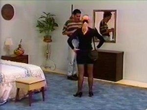 Mate spanked in pants by cute blond