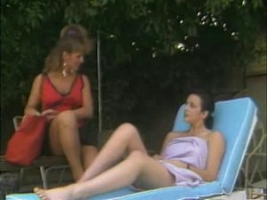 Vintage Lesbian babes enjoy sex by the pool in the sun