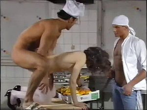 Kitchen European threesome with messy hot sperm shots